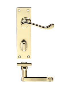 Zoo Hardware PR023EB Project Victorian Scroll Lever on Bathroom Backplate -150mm x 40mm Electro Brass