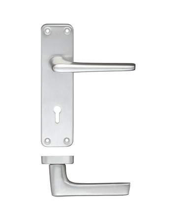 Zoo Hardware ZCA21SA Door Handle on Lever Key Backplate Satin Anodised Aluminium