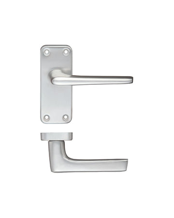 Zoo Hardware ZCA22SA Door Handle on Latch Backplate Satin Anodised Aluminium