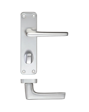 Zoo Hardware ZCA23SA Door Handle on Bathroom Backplate Satin Anodised Aluminium