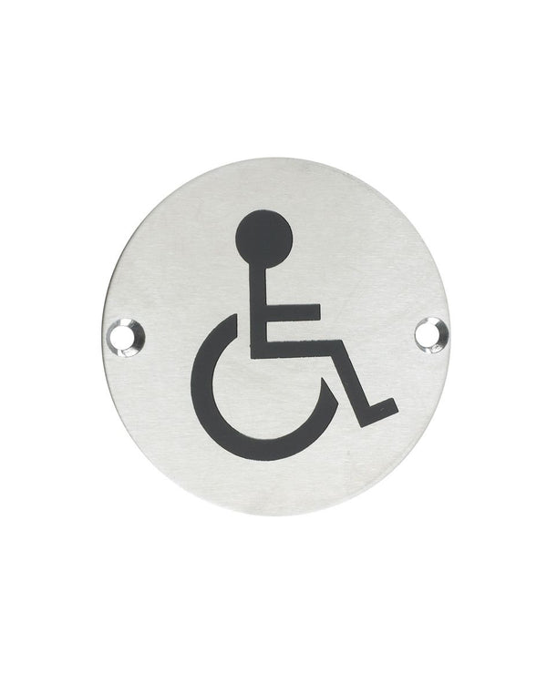 Zoo Hardware ZSS07SS Disabled Symbol 75mm Diameter Satin Stainless Steel