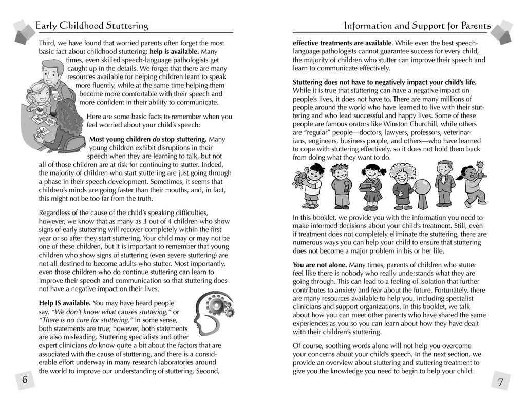 Stuttering Therapy Resources Early Childhood Information Support for Parents Sample Spread 1
