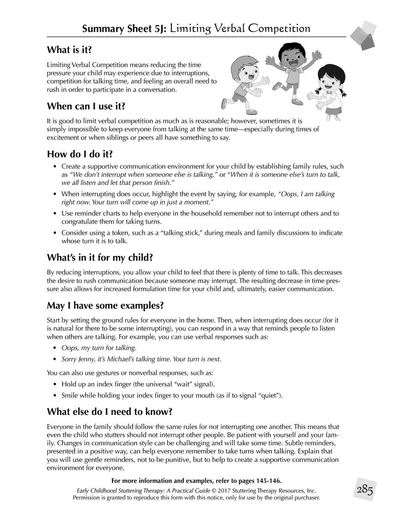 Stuttering Therapy Resources Early Childhood Practical Guide Summary Sheet - Limiting Verbal Competition