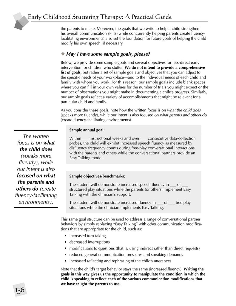 Stuttering Therapy Resources Early Childhood Practical Guide Sample Goals