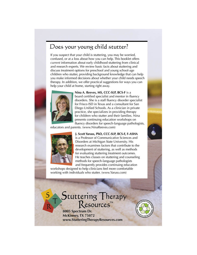 Stuttering Therapy Resources Early Childhood Information Support for Parents Back Cover