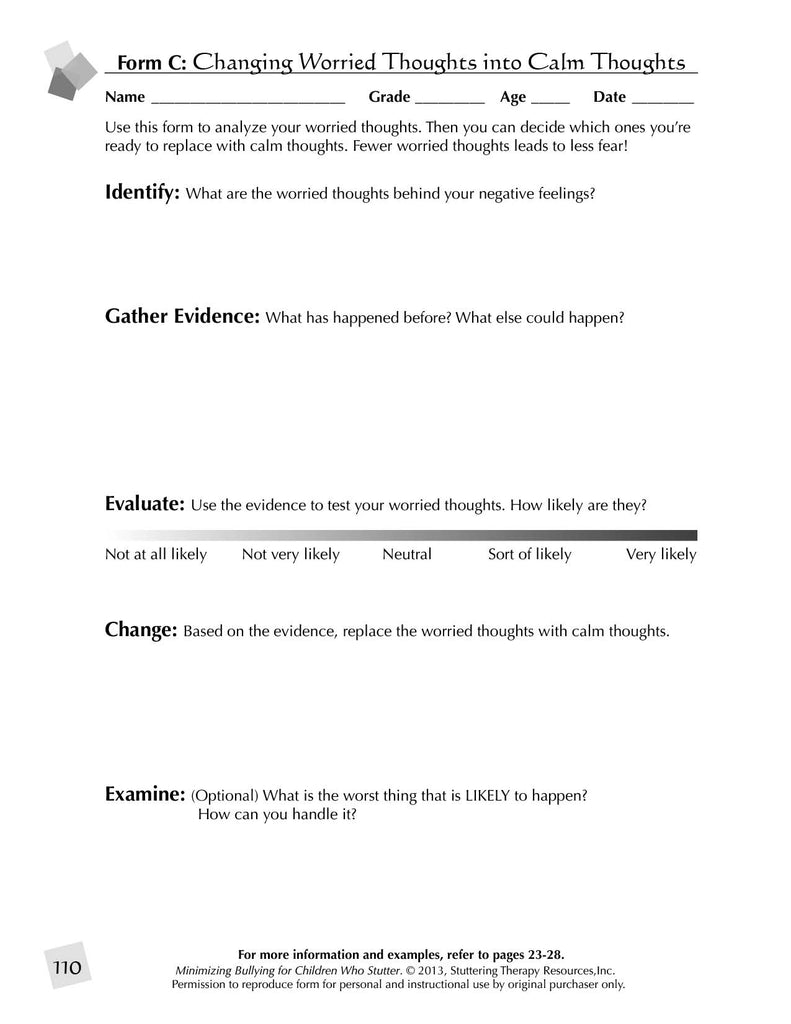 Stuttering Therapy Resources Minimizing Bullying for Children Speech-Language Pathologist SLP Guide Sample Page - Changing Worried Thoughts