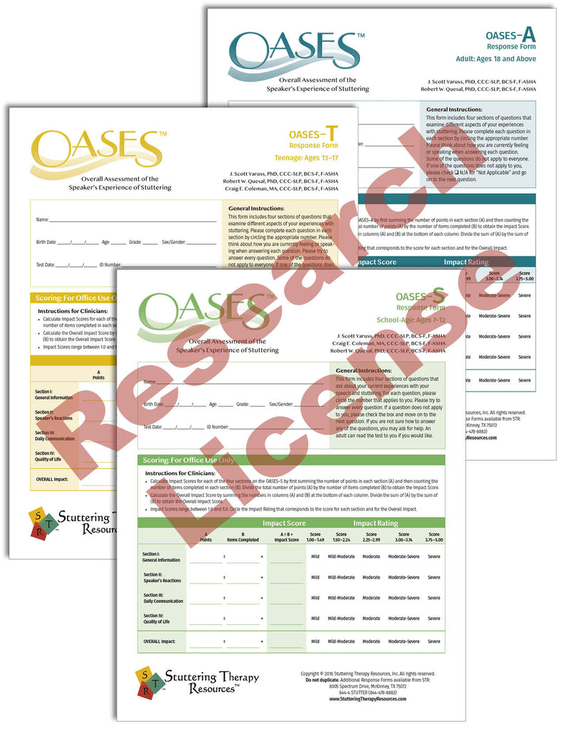 Stuttering Therapy Resources Overall Assessment of the Speaker's Experience of Stuttering OASES Research License Composite Image