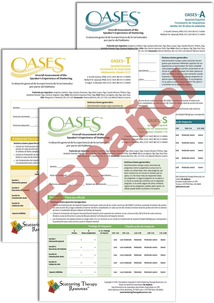 Stuttering Therapy Resources Overall Assessment of the Speaker's Experience of Stuttering OASES Spanish Español Print-Your-Own Composite Image
