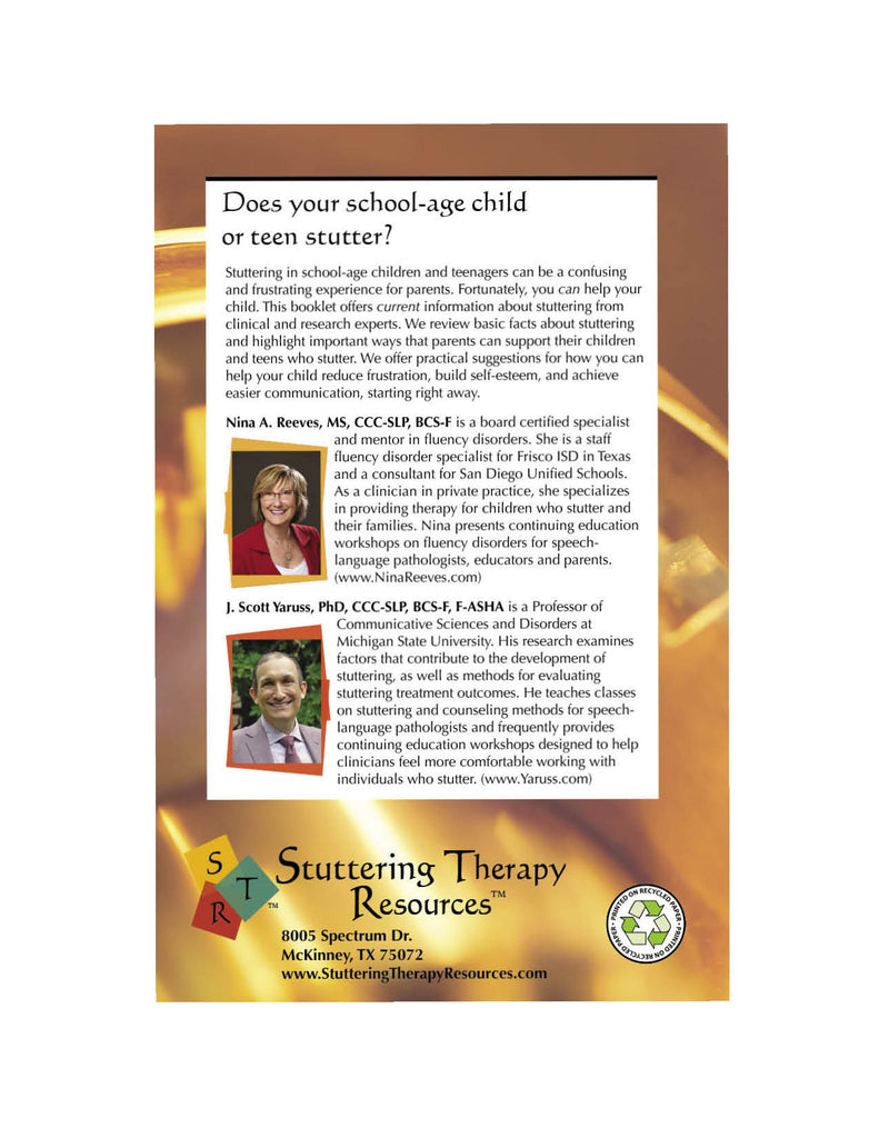 Stuttering Therapy Resources School-Age Parent Back Cover