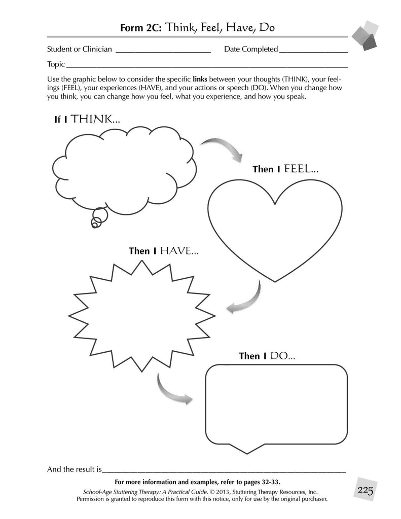 Stuttering Therapy Resources School-Age Practical Guide Sample Page Think Feel Have Do Worksheet