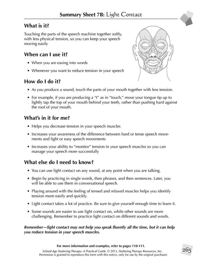 Stuttering Therapy Resources School-Age Practical Guide Summary Sheet - Light Contact