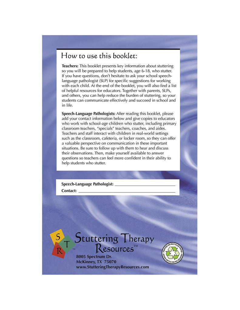 Stuttering Therapy Resources School-Age Teacher Back Cover