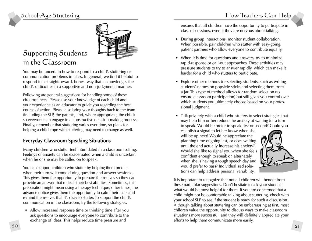 Stuttering Therapy Resources School-Age Teacher Sample Spread 2
