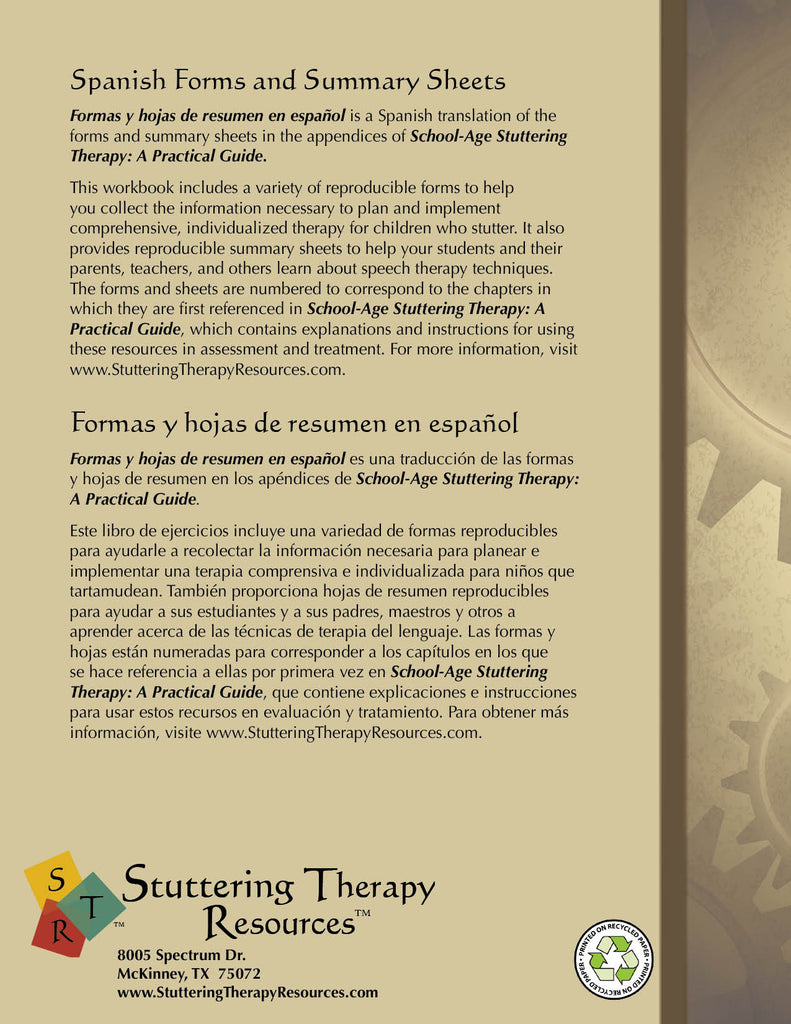 Stuttering Therapy Resources School-Age Practical Guide Forms and Summary Sheets Spanish Formas y Hojas Español Front Cover Back Cover