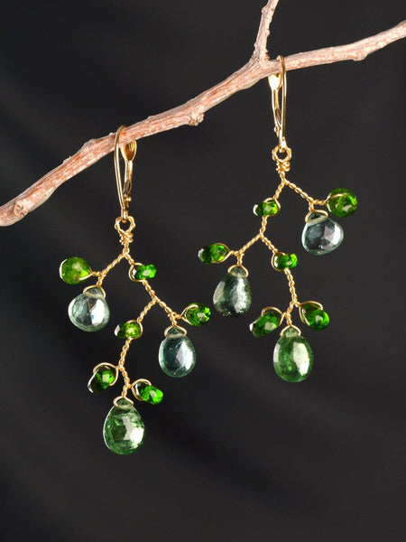 Green Goddess Branch Earrings