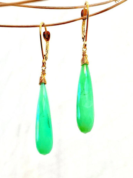 18kt Chrysoprase Drop Earrings