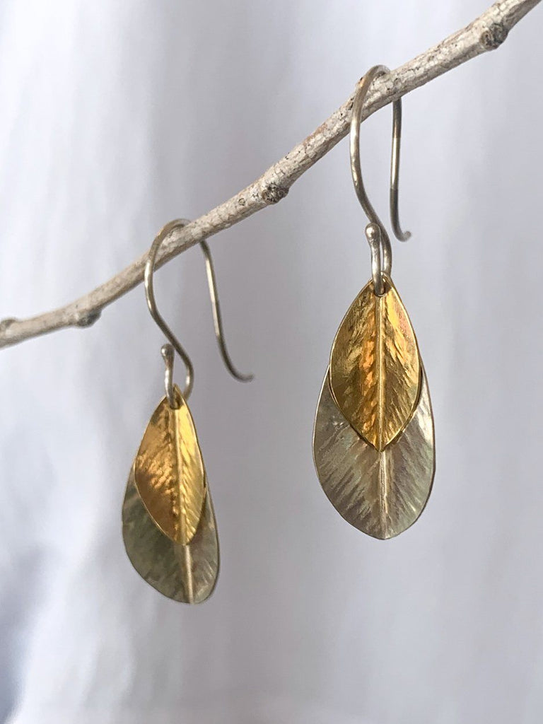 Small Two Leaf Earrings