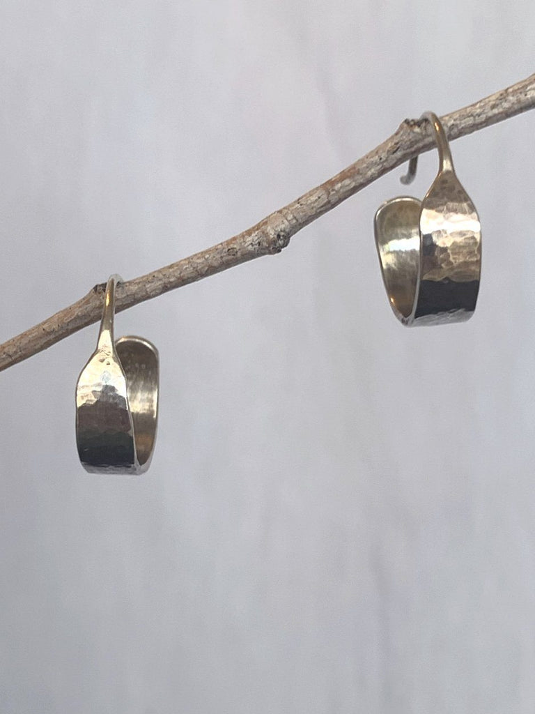 Hammered Silver Hoops by Ana