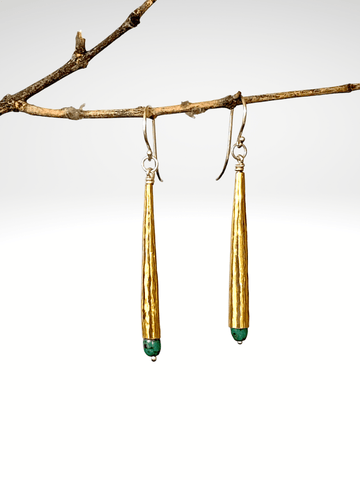Brass Bugle Turquoise Earrings