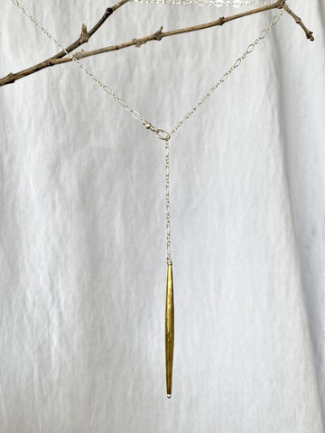 Hammered Brass Bead Lariat