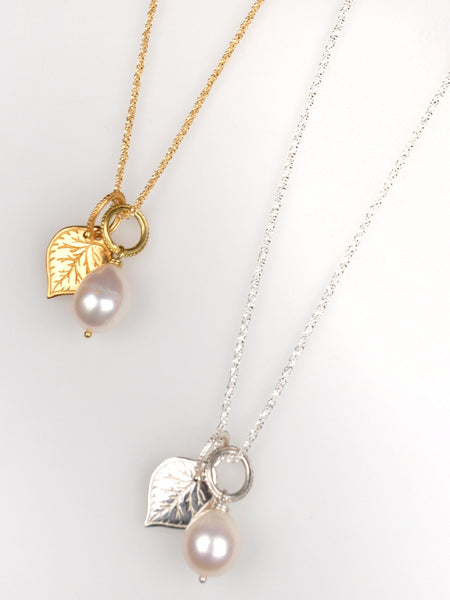 Aspen Leaf & Pearl on Sparkle Chain Necklace Set