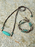 Devi Turquoise Leather Necklace and Bracelet