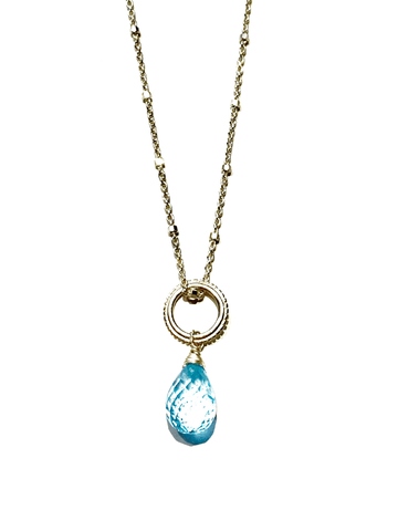 Blue Topaz Fancy Cut Pendant