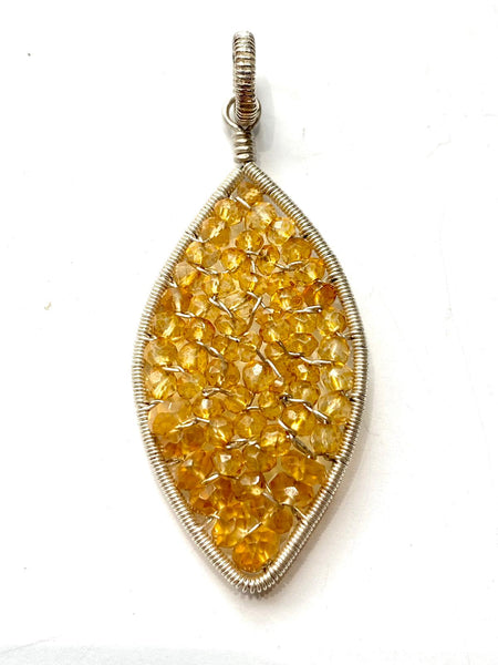 Citrine Woven Marquois Pendant