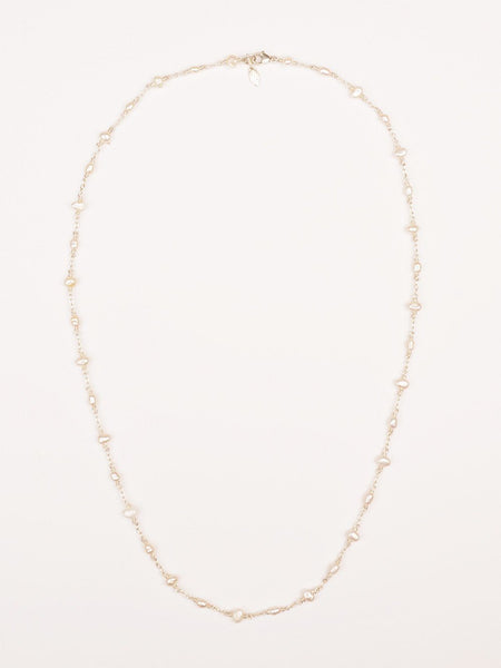 White Pearl Charm Necklace