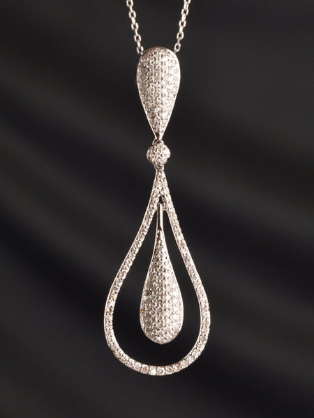 Pave Pear Diamond Necklace
