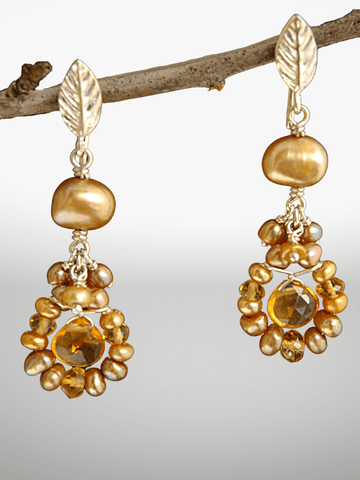 Citrine Daisy Earrings