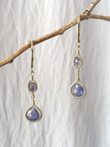 Tanzanite Drop Framed Earrinng