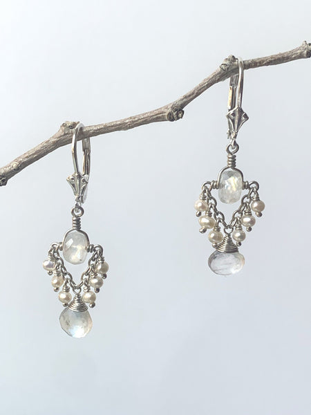 Moonstone Trapeze Earrings