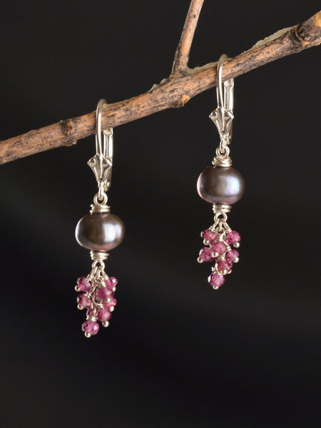 Sterling Silver, Garnet, Pearl Earrings