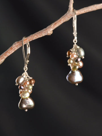 River Pearl Cluster Earrings