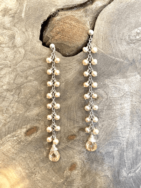 Gem & Pearl Cluster Earrings