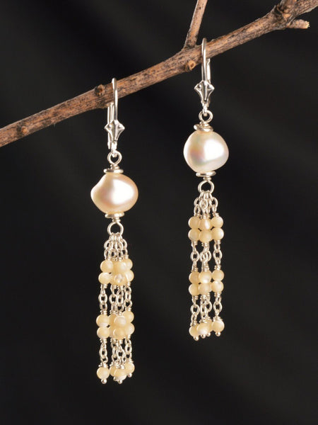Sterling Silver Kuan Yin Tassel Earrings