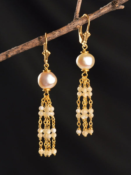 Gold Vermeil Kuan Yin Tassel Earrings