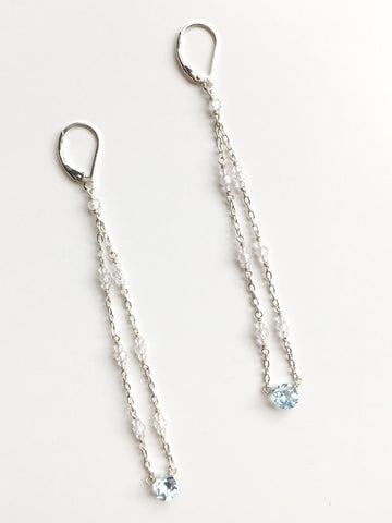 Sky Crystal Long Earrings
