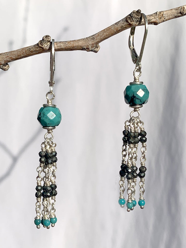 Sterling Silver Pyrite Turquoise Earrings
