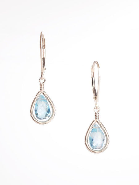 Blue Topaz Framed Drop Earring
