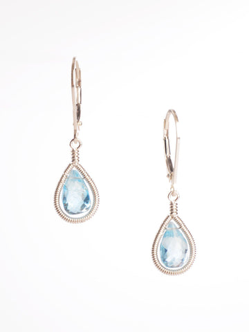 Blue Topaz Framed Earrings