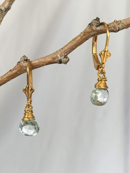 Gold Vermeil Blue Topaz Earrings