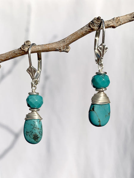 Sterling Silver Tibetan Turquoise Earrings