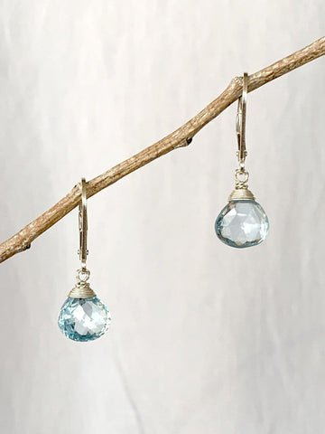 Blue Topaz Crowned Earrings