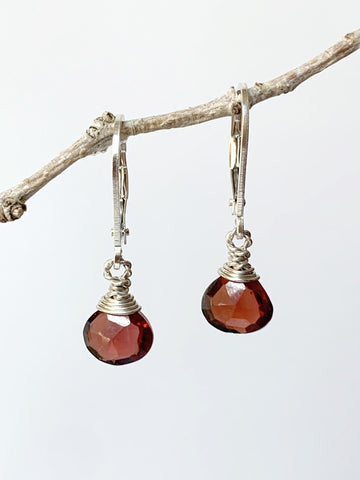 Garnet Briolette Drop Earrings