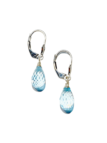 Blue Topaz Fancy Cut Earrings