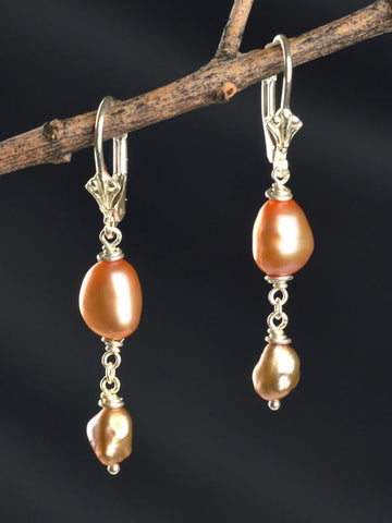 Eos Golden Pearl Drop Earrings