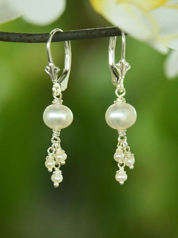 White Pearl Triplet Earrings