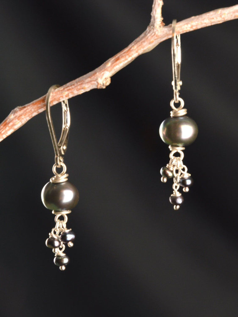 Peacock Pearl Triplet Earrings